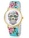 Women's Bracelet Watch Quartz Analog Skull Dial Flower Band Cool Watches Unique Watches