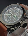 Men's Luxury Cow Leather Sport Military Watch Quartz Analog-Digital LED/Calendar/Chronograph/Water Resistant Wrist Watch Cool Watch Unique Watch