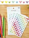 colorido engracado grupo da etiqueta do coracao (6 pcs)