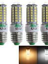 Zweihnder Lampadas Espiga Decorativa E26/E27 7W 600 LM 3000-3500/6000-6500 K Branco Quente / Branco Frio 69 SMD 5050 4 pcs AC 220-240 V T