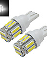 JIAWEN® 2pcs T10 1W 10X7020SMD 100-150lm 6000-6500K Cool White LED Car Light DC 12V