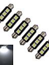 1W Festoon Luz de Decoracao 3 SMD 5050 60-70lm lm Branco Frio DC 12 V 6 pcs