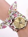 Женские Модные часы Наручные часы Часы-браслет Кварцевый Материал Группа Цветы Белый Красный