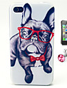 Glasses Dog Pattern TPU Soft Case with Anti-dust Plug and Flim for iPhone 4/4S