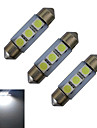JIAWEN® 3pcs 36mm 1W 3 SMD 5050 60LM Cool White Reading Light LED Car Light (DC 12V)
