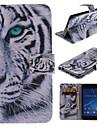 conception de tigre blanc cuir PU cas de tout le corps avec bequille et la fente de carte pour Sony Xperia m2