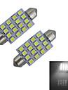 JIAWEN® 2pcs Festoon 41mm 1.5W 16x3528SMD 80-100LM 6000-6500K Cool White Light Reading Lamp LED Car Light (DC 12V)
