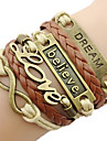 Classic Bronze LOVE Leather Wrap Bracelet(1 Pc)