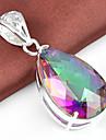 модный падение огонь разноцветные мистик топаз камень 925 серебряные подвески для ожерелья для свадьбы партии повседневной непринужденной