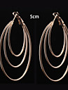 European Fashion Three Layer  Hoop Earrings 5cm Wedding/Party/Daily 2pcs