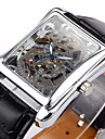 Men's Auto-Mechanical Square Skeleton Watch PU Leather Band Wrist Watch Cool Watch Unique Watch