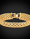 U7® Hollow Gold Bangles 18K Real Gold/Platinum Plated Men Jewelry Simple Style Wide Chain Bracelet