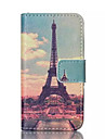 Painting Tower Pattern PU Leather Painted Phone Case For iPhone 4/4S
