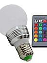 3W E26/E27 Круглые LED лампы 1 Высокомощный LED 100—130LM(lm) lm RGB Регулируемая / На пульте управления AC 85-265 V 1 шт.