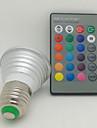 3W E26/E27 Точечное LED освещение 1 Высокомощный LED 130 lm RGB На пульте управления AC 85-265 V 1 шт.