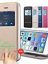 сплошной цвет искусственная кожа + ТПУ смарт скольжения вид ответ окно перевернуть весь корпус тела для Iphone 4 / 4s с подставкой