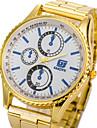 Hommes Bracelet Montre Quartz Alliage Bande Dore Marque-