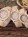 Couple's Parent-Child Khaki Wood Style PU Band Casual Quartz Watch Cool Watches Unique Watches Fashion Watch Strap Watch