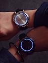 Herr Armbandsur Quartz LED Pekskärm Läder Band Svart Stämpla