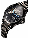 Men's Skeleton Black Steel Band Automatic Mechanical Wrist Watch Cool Watch Unique Watch