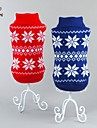 Cat / Dog Coat / Sweater Red / Blue Dog Clothes Winter Snowflake Wedding / Cosplay / Christmas / Holiday / New Year\'s