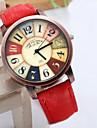 Masculino / Mulheres / Unissex Relogio de Moda Quartz Cronografo PU Banda Azul / Vermelho / Marrom / Roxa marca-