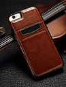 Pour Coque iPhone 5 Porte Carte Coque Coque Arriere Coque Couleur Pleine Dur Vrai Cuir pour iPhone SE/5s/5