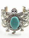 Vintage Look Antique Silver Plated Alloy Turtle Turquoise Stone Cuff Bracelet Bangle(1PC)
