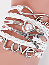 Multilayer Eiffel Tower & Love Weave Bracelet,White inspirational bracelets