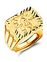 Good Luck to Get Rich Men 24 K Gold Ring