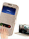 Для Кейс для  Samsung Galaxy со стендом / с окошком / Флип Кейс для Чехол Кейс для Один цвет Искусственная кожа Samsung S4