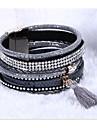 leather Charm BraceletsCrystal Cuff Leather Rhinestone Slake Crystal Bohemian style Bracelet wra Jewelry Christmas Gifts