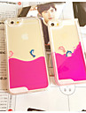 Fun Lovely Couple Dolphin Liquid Back Quicksand Transparent Clear PC Hard Cover For iPhone4/4S