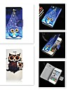 cartoon patroon pu lederen full body case voor de iPhone 4 / 4s