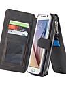 Para Samsung Galaxy S7 Edge Porta-Cartao / Carteira / Com Suporte / Flip Capinha Corpo Inteiro Capinha Cor Unica Couro PU SamsungS7 edge