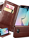 For Samsung Galaxy S7 Edge Card Holder / with Stand / Flip Case Full Body Case Solid Color PU Leather Samsung S7 edge plus / S7 edge / S7
