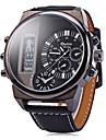 Męskie Zegarek na nadgarstek Kwarcowy LCD Kalendarz Dwie strefy czasowe Skóra Pasmo Ekskluzywne Czarny Biały Czerwony BrązowyWhite Black