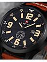 NAVIFORCE Мужской Наручные часы Календарь Кварцевый Японский кварц Кожа Группа Люкс Черный Коричневый