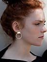 Women Personality Popular Metal Tube Earrings Fashion Simple Alloy Earrings