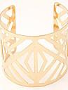 Women\'s European Fashion Glossy Metal Wild Temperament Hollow Wide Cuff Bracelets