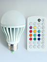9W E26/E27 Ampoules Globe LED A60(A19) 3 LED Haute Puissance 550 lm RVB Commandee a Distance Decorative Gradable Audio-active AC 100-240 V