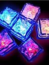 12PCS 블루 / 레드 / 그린 / 핑크 / 노랑 / RGB / 자연 흰색 변화는 액체 센서 조명 얼음 조각 모양을 주도