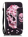 Skeleton Head Pattern PU Leahter Full Body Cover with Stand and Card Slot for Samsung Galaxy S4 S5 S6 S6edge S7 S7edge