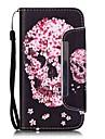 Para Samsung Galaxy S7 Edge Porta-Cartao / Carteira / Com Suporte / Flip / Estampada Capinha Corpo Inteiro Capinha Caveira Couro PU