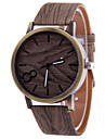 Men\'s Gray Case Wood Shape PU Leather Band Analog Quartz Wrist Watch Cool Watch Unique Watch