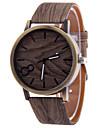 Men's Gray Case Wood Shape PU Leather Band Analog Quartz Wrist Watch Cool Watch Unique Watch