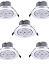 5pcs 7W 7LEDS 750LM Warm/Cool White Color LED Receseed Lights Ceiling Lights(85-265V)