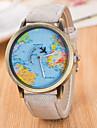 Homens Relogio de Pulso Quartzo / Couro Banda Vintage Casual Padrao Mapa do Mundo Preta Branco Azul Vermelho Marrom Verde Cinza Rosa