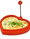 силикона в форме сердца яйцевидной формы кольцо и блинница яйцо жареное жарки блинов приготовления пищи плесень (случайный цвет)