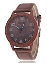 남성 패션 시계 시계 나무 캐쥬얼 시계 나무의 석영 가죽 밴드 브라운